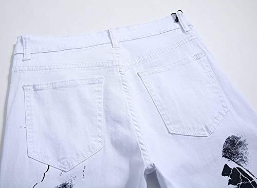 Retro La Cintura Media Elásticos Vaqueros La Dril Impresión Hombres del De De Vaqueros Ajustados Ropa Recta De Algodón Blanco Mezclilla Pantalones Vaqueros Pantalones Moda Pantalones De WATHp8qnn