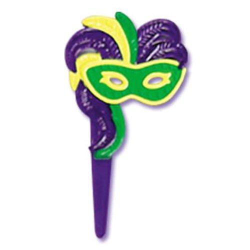 Dress My Cupcake DMC41MG-90 12-Pack Fancy Mask Pick Decorative Cake Topper, Mardi Gras, Green/Yellow/Purple - Mardi Gras Decorations Wholesale