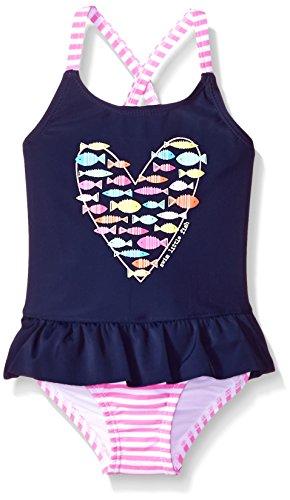 Kiko & Max Little Girls' One-Piece Peplum Bathing Swim Suit, Navy Fish Heart, 3T by Kiko & Max