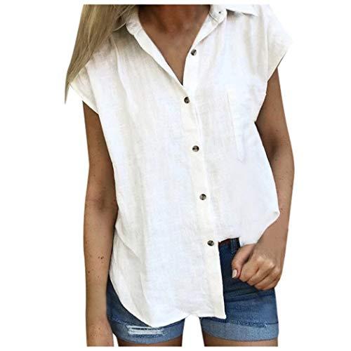 Hosamtel Women Shirt Short Sleeve Button Down Pocket Solid Summer Fashion Casual Elegant Cotton Linen T-Shirt Tops Blouse White