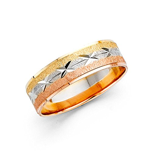 Wedding Band Solid 14k Yellow White Rose Gold Ring Diamond Cut Star Satin Finish Tri Color 6 mm Size 10.5