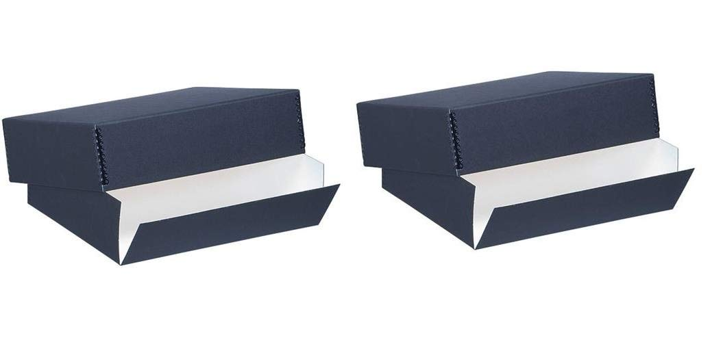 Lineco Museum Archival Drop-Front Storage Box, Acid-Free with Metal Edges, 8.5 X 10.5 X 3 inches, Black (733-2008), Set of 2