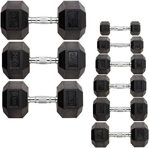 JC FITNESS HEX DUMBBELL WEIGHTS GYM FITNESS 2.5KG – 22.5KG PAIRS SETS