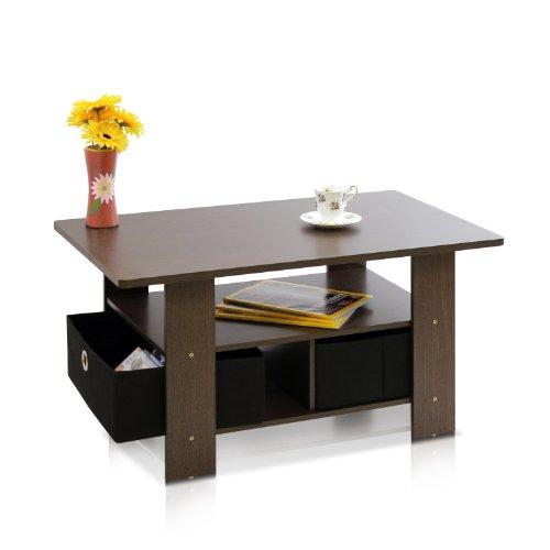 Furinno 11158DBR/BK Coffee Table With Bins, Dark Brown