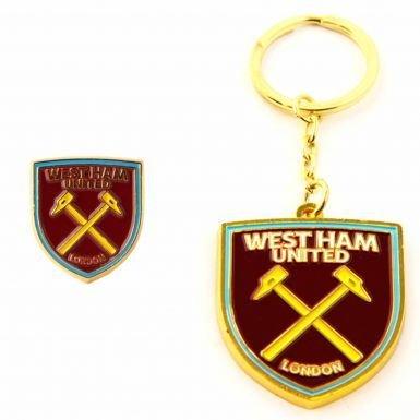 West Ham United Keyring & Pin Badge Set (Keyring Ham West)