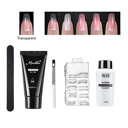 Poly Nail Gel Starter Kit, Poly Nail Gel Master Tool Kit Including Clear Full Cover Nail Tips, Brush, File, Poly Nail Colors Gel and Slip Solution. Poly Nail Builder Kit Tool for Nail Art