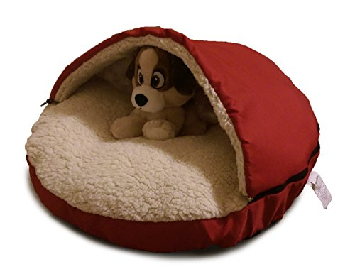 HappycareTex Pet Cave Bed for Dogs and Cats, 25-Inches Red M