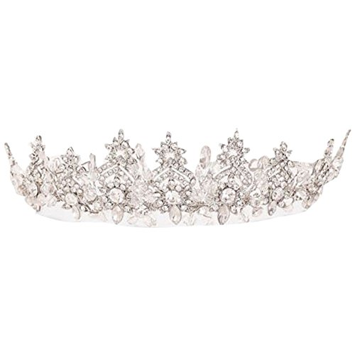 Scrolling Floral Filigree Crystal Tiara Style T9120, Silver