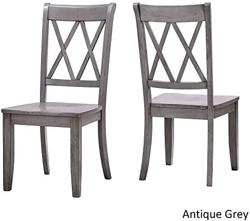 Inspire Q Eleanor Double X Back Wood Dining Chair Set of 2 by Classic Grey