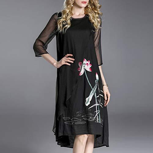 Con 3 A Size Lotus Black Donna Da 4 Vestito Xl color Maniche Black Ricamato Yahuyaka Due Pezzi 5qpwxIC