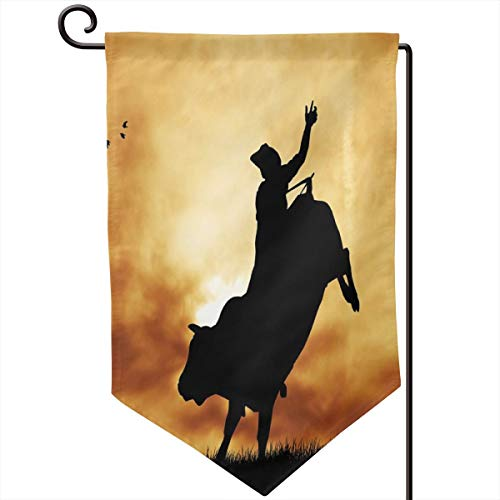 lsrIYzy Garden Flag,Bull Rider Silhouette at Sunset Dramatic Sky Rural Countryside Landscape Rodeo,12.5x18.5 inch
