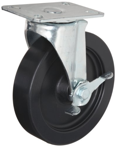E.R. Wagner Plate Caster, Swivel with Pinch Brake, Polyolefin Wheel, Plain Bearing, 125 lbs Capacity, 3'' Wheel Dia, 1'' Wheel Width, 3-13/16'' Mount Height, 3-3/4'' Plate Length, 2-3/4'' Plate Width by ER Wagner