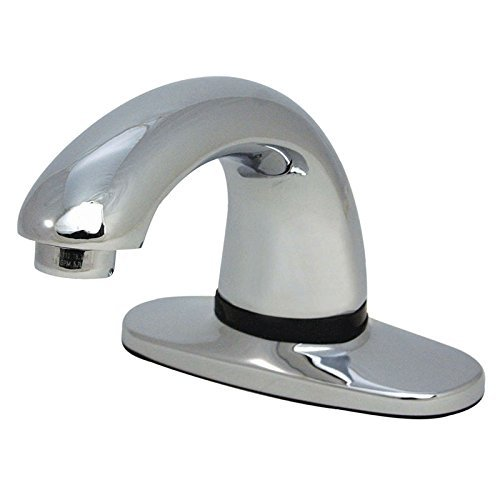 Rubbermaid Commercial Products 1818966 Auto Faucet Single Hole Mount with Mixing Valve and Hot/Cold Supply Hoses, Milano, Polished Chrome