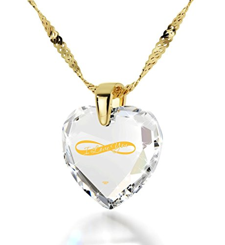 Gold Plated Heart Necklace I Love You Pendant Infinity Symbol 24k Inscribed on Clear Cubic Zirconia, 18