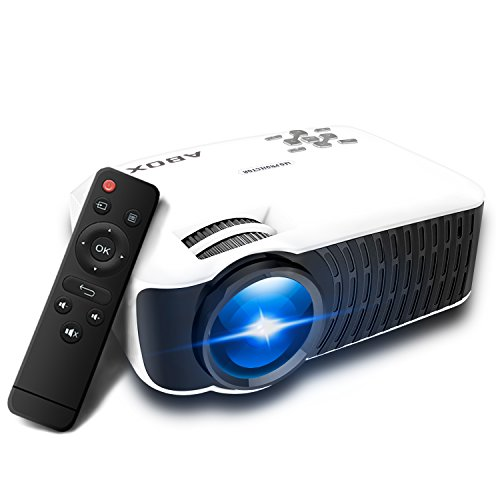 Projector 2400 Lumens, Globmall ABOX T22 Support 1080p HD Multimedia Portable Mini Home Theater LED Video Projector Support HDMI USB SD Card VGA AV Input for PC Laptop/PS4/Xbox (Zoom Controller Lens)
