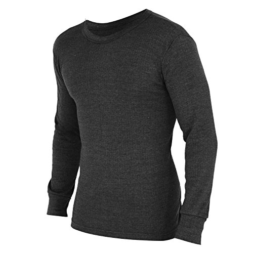 Floso Mens Thermal Underwear Long Sleeve T Shirt Top (Standard Range) (Chest: 32-34ins (Small)) (Charcoal)