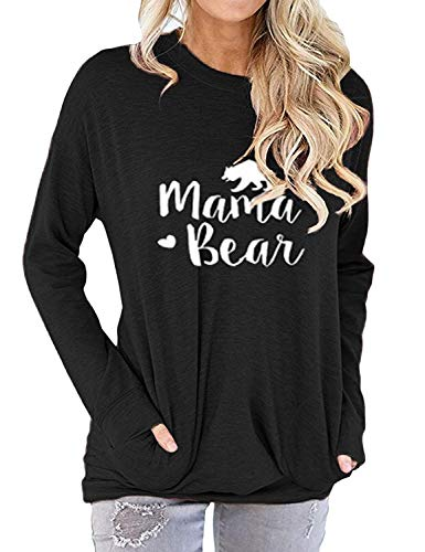 SCX Mom's T-Shirt Cute Letter Print Mama Summer Colorful V Neck Shirt for Mom's Gift (S, Long Sleeves_Black)