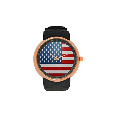 Novelty Gift US American Flag Men's Rose Gold Plated Resin Strap Watch by American Flag Watch