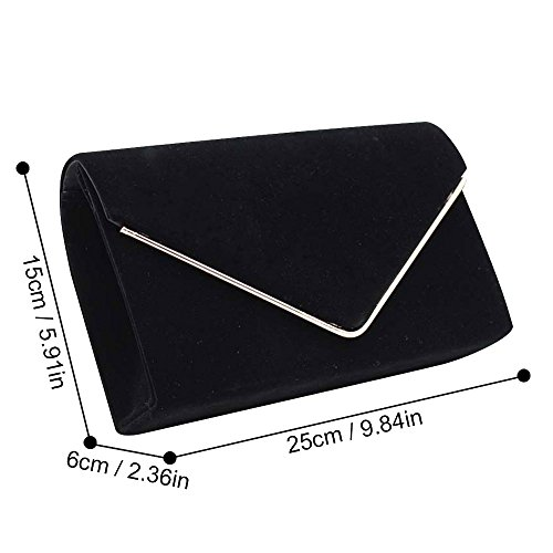 Shoulder New Wiwsi body Fashion Black Women Bags Soft Design Nude Velvet Chain Cross Clutch 5v5fzUnx