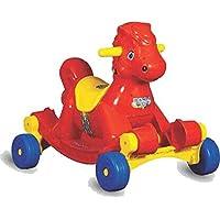 Panda Kid's Plastic Goyal's Musical Hobby Horse 2-in-1 Rocker cum Ride-on (Red)