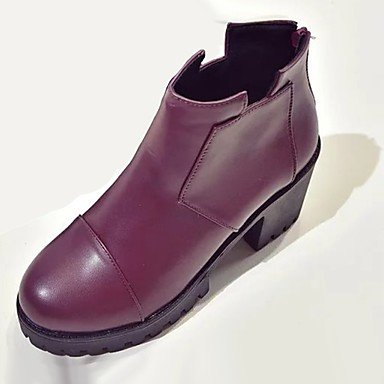 Boots Shoes Casual Women'S Winter EU36 Heel Chunky Zipper Fashion For Toe RTRY Pu Black CN36 UK4 Round Boots Burgundy US6 5YpwxnOq