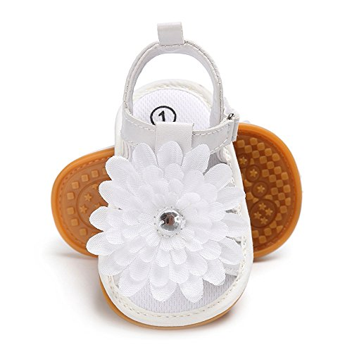 Antheron Baby Sandals - Infant Girls Flower Non-Slip Soft Rubber Sole Summer Princess First Walking Shoes(White,6-12Month) -