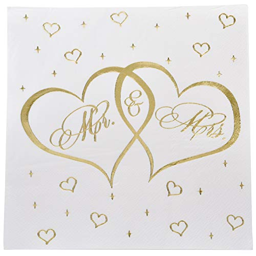 100 Count Mr. and Mrs. Luncheon Napkins Gold Foil Disposable Paper Wedding Napkin Bridal Shower Engagement Anniversary Party