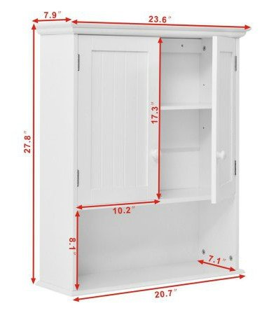 By Home Design Wood Medicine Cabinet, Storage - Wall Mounted, Color White