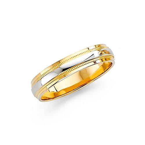 Wedding Milgrain Ring Solid 14k Yellow White Gold Band Diamond Cut Two Tone Polished Men Women 7 mm Size 7.5 (14k Two Tone Ladies Ring)