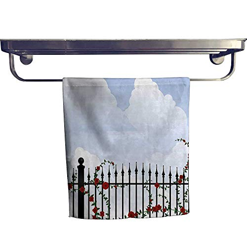 (HoBeauty home Pool Gym Towels, Wrought Iron and Swirl Ivy Red Rose Petals Florets with Clouds Paint,Good Ideal for The Kid's Room, a Guest Room W 12