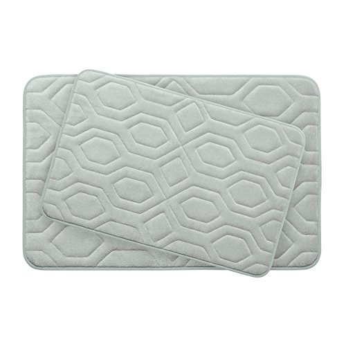 Bounce Comfort Extra Thick Memory Foam Bath Mat Set - Turtle Shell Premium Plush 2 Piece Set with BounceComfort Technology, 20 x 32 in. Light Grey -  YMB003758