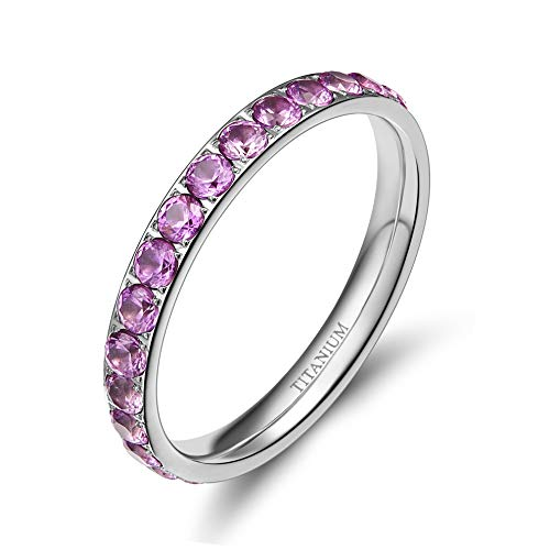 TIGRADE 3mm Women Titanium Engagement Ring Cubic Zirconia Eternity Wedding Band (Pink, 5)