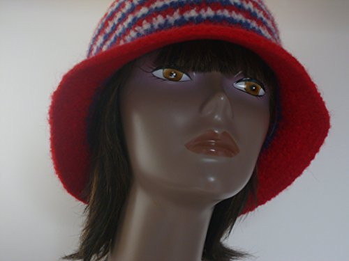 Working Girl Felted Cloche Hat Collection- 1920s style red white and blue striped (Felted Bucket)