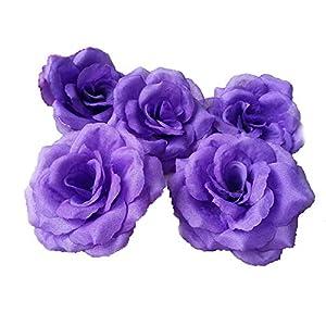 "3"" Silk Rose Heads 100 Artificial Flowers Wholesale 8cm for Kissing Balls Pomander Flower Wall Wedding Arch Flowers (Dark Red) 24"
