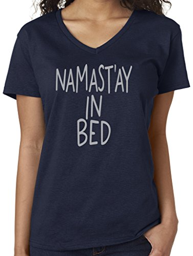 Yoga Clothing For You Ladies Namaste in Bed V-Neck Tee, Medium Navy Review