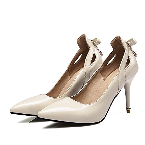 BalaMasa Womens Bows Charms Spikes Stilettos Patent-Leather Pumps Shoes Beige rFZM4M