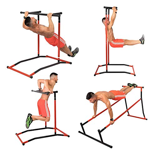 FlowerW, capaciteit 150 kg, trainingsstation Dip Pull Up Dip Bar Pull Power Tower, multifunctioneel station, workout…