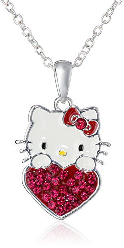 Hello Kitty Girls January Crystal Birthstone Heart Pendant Necklace, 18