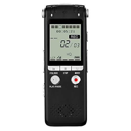 Digital Voice Recorder 8GB PCM 1536Kbps Recording,ZHKUVE Voice Activated Recorder for Lectures Interviews Meetings,Audio Sound Recorder with Triple Microphones,Noise Reduction,Auto Saving,MP3 Player