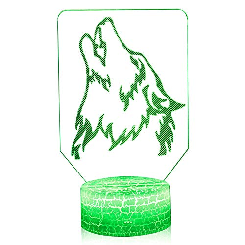 3D Illusion Howling Wolf Night Lamp, 7 Color