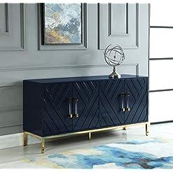 Kitchen Best Master Furniture Tamari High Gloss Lacquer Sideboard/Buffet, Navy Blue modern buffet sideboards