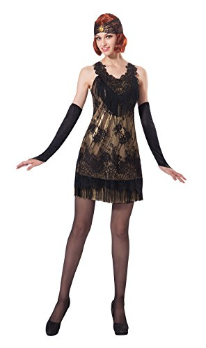 Bristol Novelty AC220 Flapper Black/Gold Lace Dress (UK 10-14)