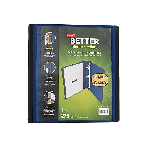 (Staples Better 1-Inch D 3-Ring View Binder, Blue )