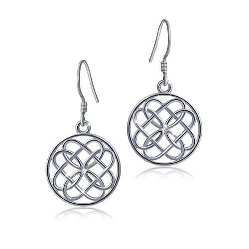 925 Sterling Silver Irish Celtic Infinity Heart Love Knot Round Dangle Earrings for Women ()