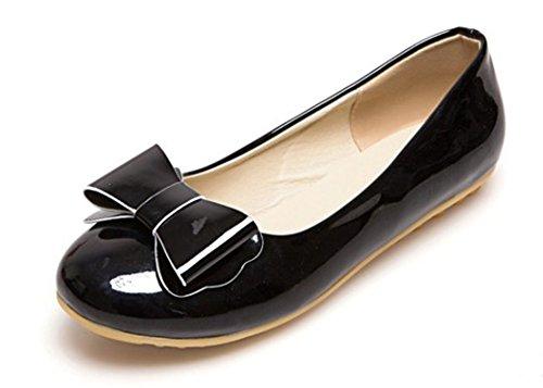 Slip Loafer Bowknot Aisun Cute On Women's Flats Black Bw8wCq7xt