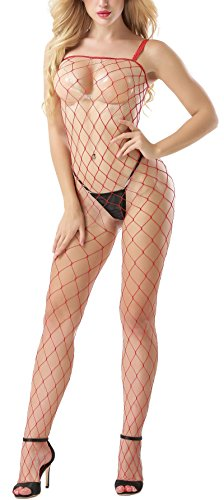 Women's Stretch Cami Fishnet Strappy Bodystocking Sheer Hole Line Stockings (Black) Cami Garter