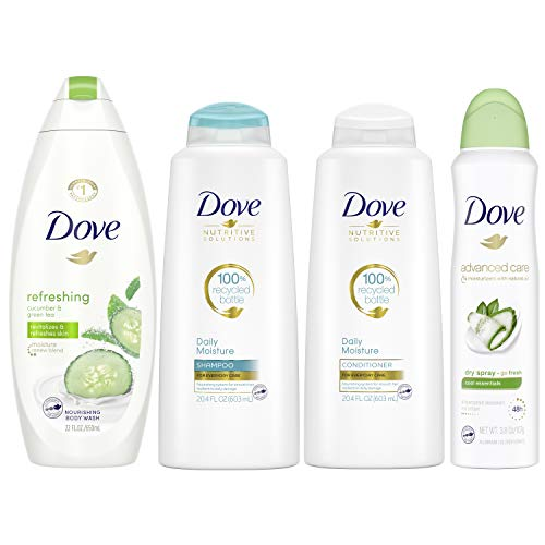 Dove Hair and Skin Care Regimen Pack For Soft Skin and Clean Hair Cool Moisture Includes 2 Hair and 2 Skin Care Products, 66.6 Ounce