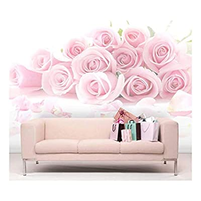 Top Quality Design, Stunning Portrait, Pink Bouquet of Roses Against a White Background Wall Mural