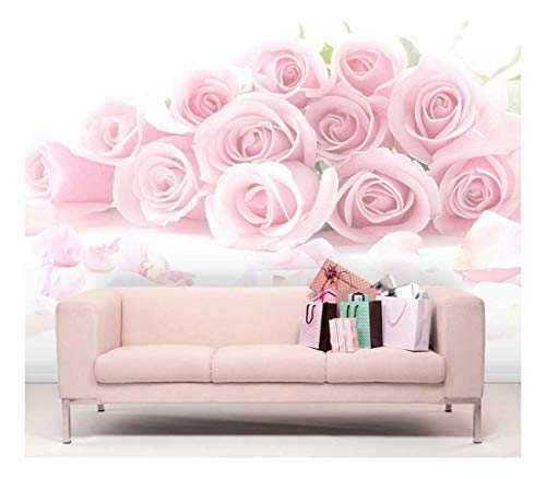 Pink Bouquet of Roses Against a White Background Wall Mural