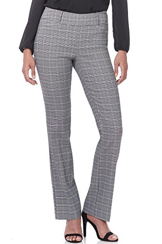 Bootcut Belt - Rekucci Women's Ease in to Comfort Fit Barely Bootcut Stretch Pants (10,Black/White Glencheck)